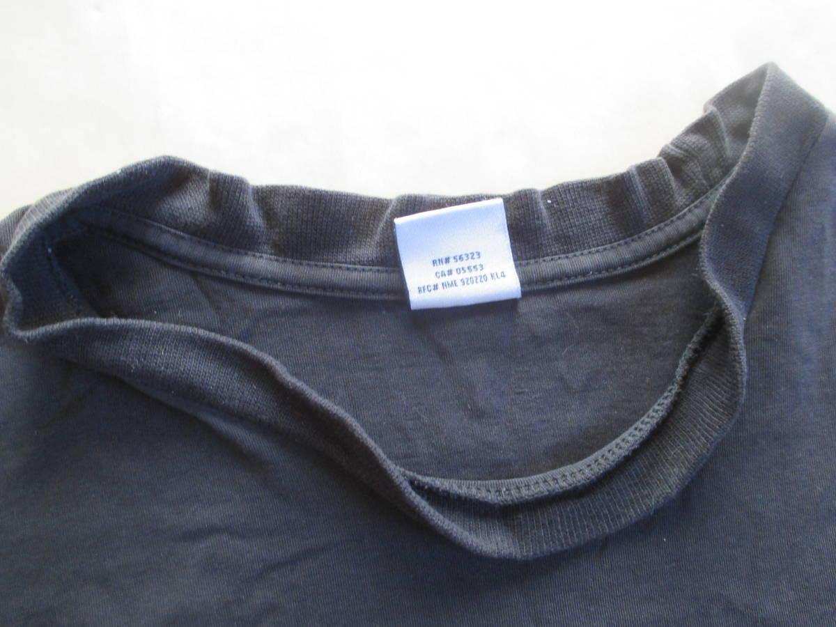 MICHAEL JORDAN ナイキ 長袖 ロゴ プリント Tシャツ 黒 XL 身幅59cm NIKE マイケル・ジョーダン 七分袖 カットソー ロンT_首の生地伸び、ヨレ