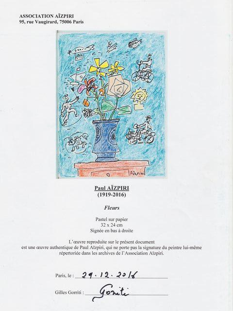 《芦》 真作 Paul AIZPIRI ポール・アイズピリ Fleurs(花) パステル画 肉筆真作 鑑定書付_画像9
