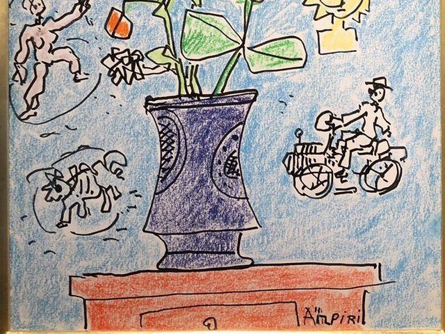 《芦》 真作 Paul AIZPIRI ポール・アイズピリ Fleurs(花) パステル画 肉筆真作 鑑定書付_画像5