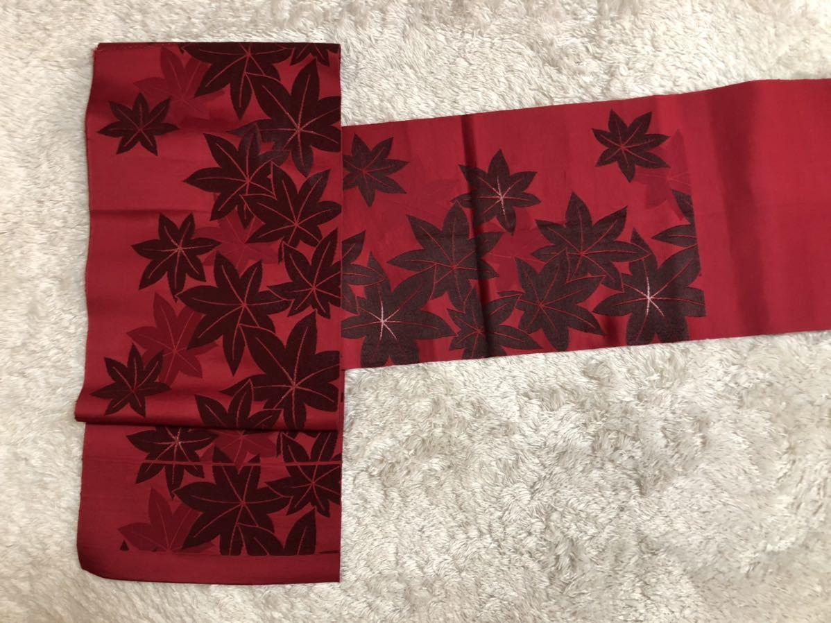 送料無料☆もみじ柄一重正絹名古屋帯 和装 着物帯♪リメイク ♪巾約30.5cm長さ約334cm_画像2