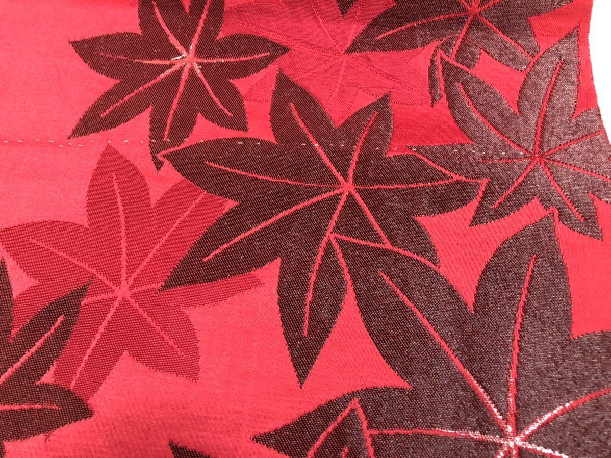 送料無料☆もみじ柄一重正絹名古屋帯 和装 着物帯♪リメイク ♪巾約30.5cm長さ約334cm_画像4