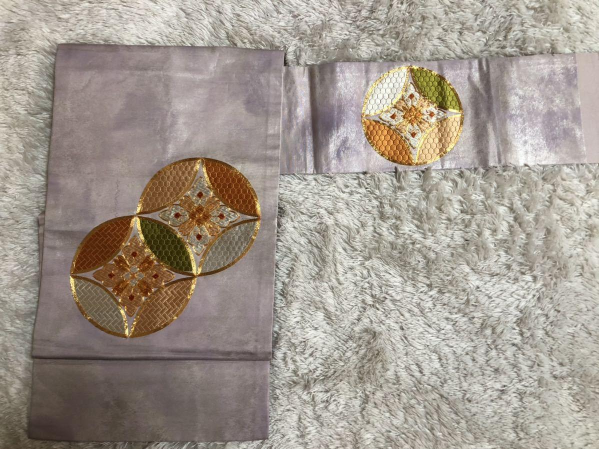 送料無料☆正絹ポイント柄名古屋帯和装 着物帯♪リメイク ♪巾約31cm長さ約353cm_画像2