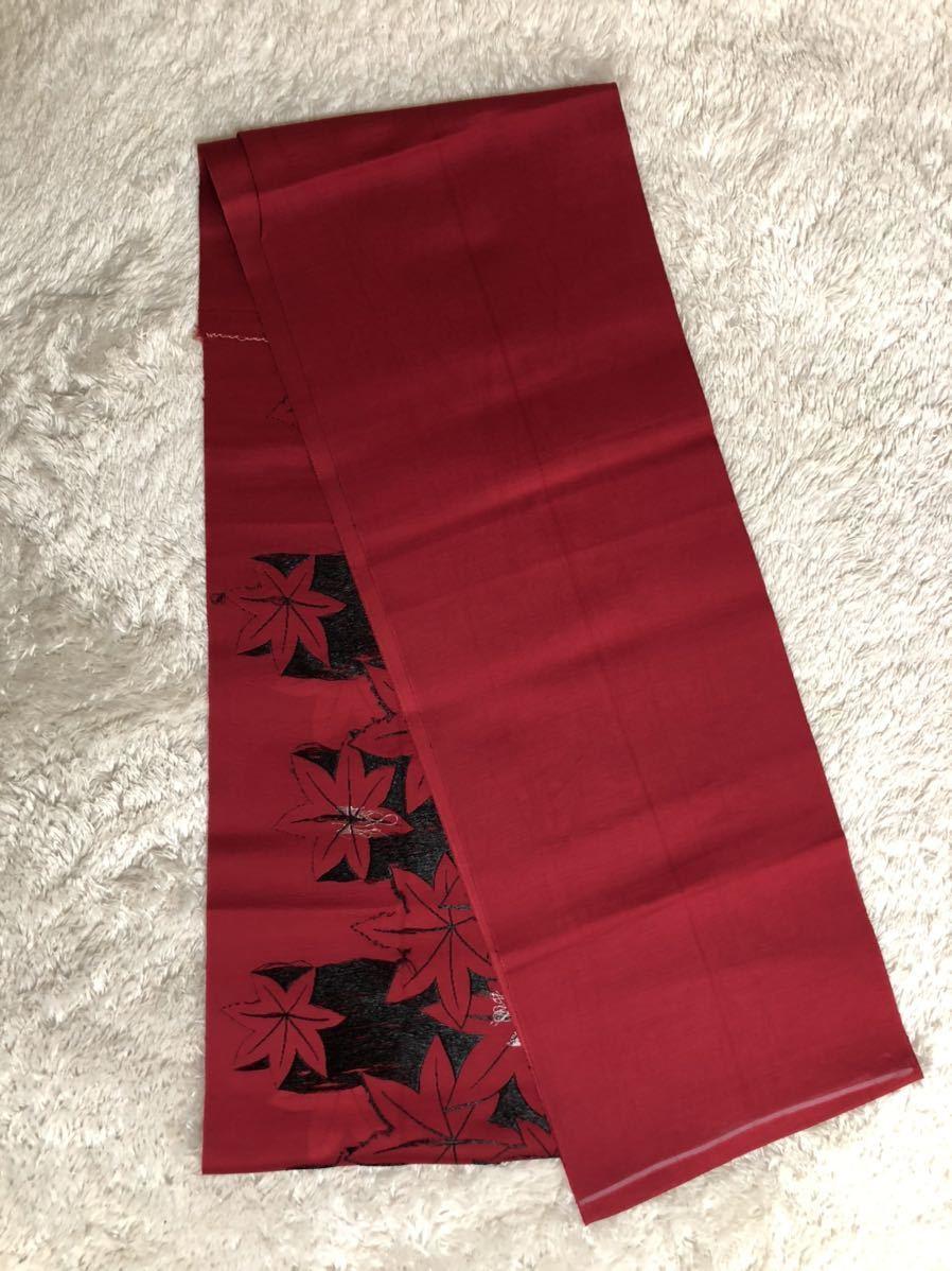 送料無料☆もみじ柄一重正絹名古屋帯 和装 着物帯♪リメイク ♪巾約30.5cm長さ約334cm_画像3