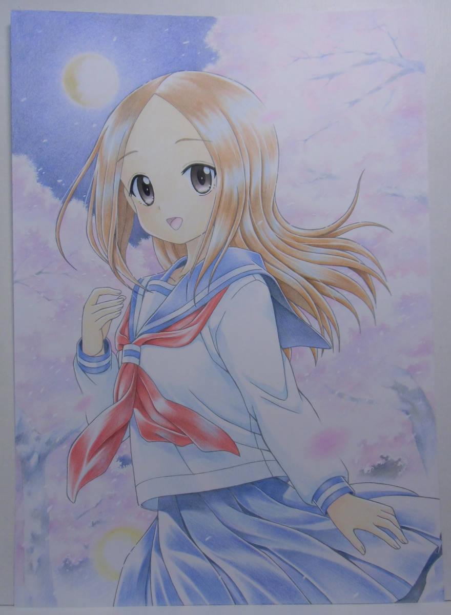 からかい上手の高木さん 夜桜デュエット 色鉛筆アート A4