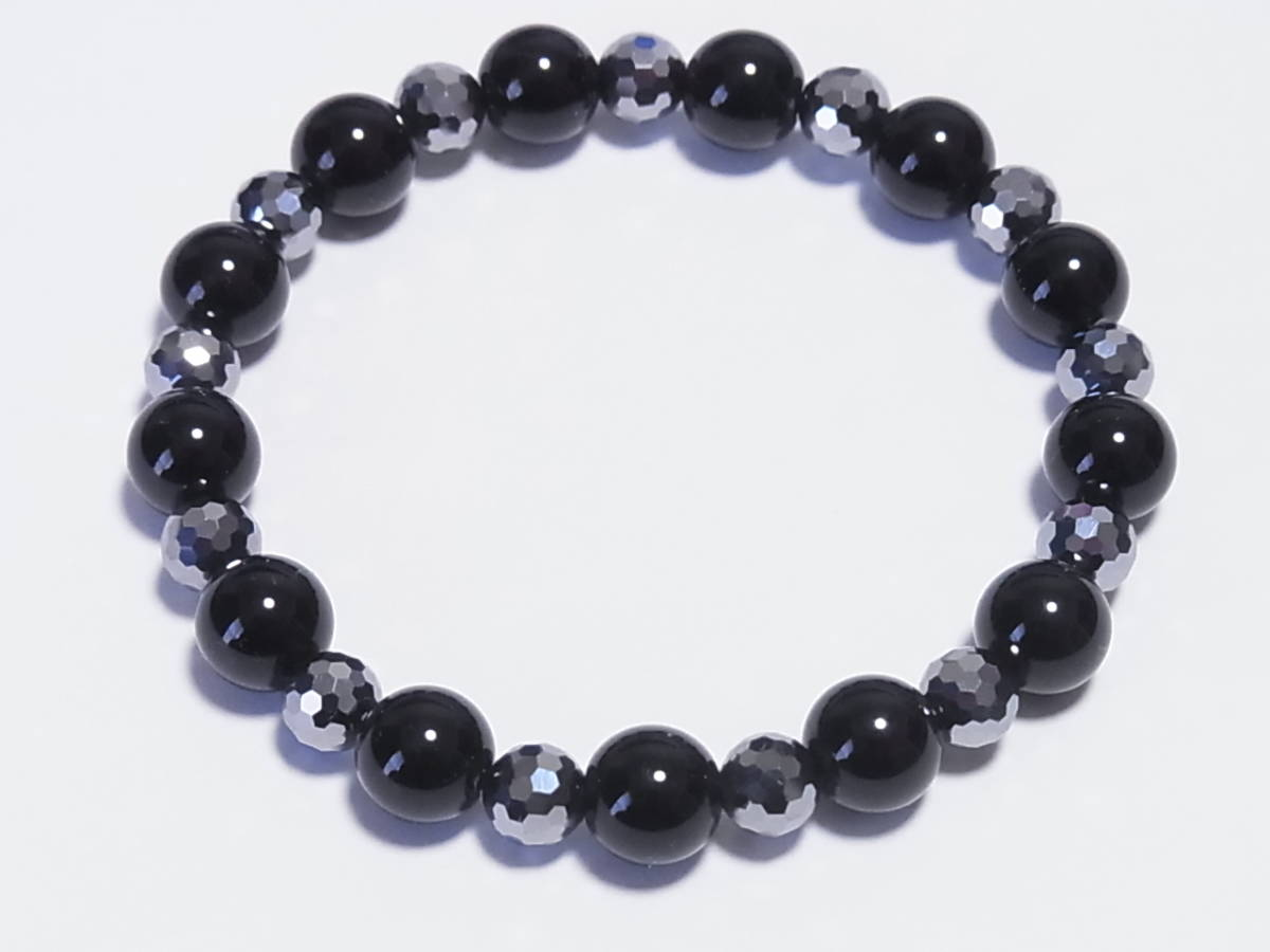 高純度テラヘルツ カット×天然モリオン(黒水晶) ストレッチ・ブレスレット(伸縮)_画像1