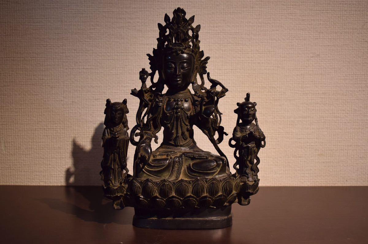 【GE】R96【旧家蔵出品】古銅三尊佛 /仏教美術 仏像 銅製 仏 チベット 中国 古玩 美術品 骨董品 朝鮮 美術 antique