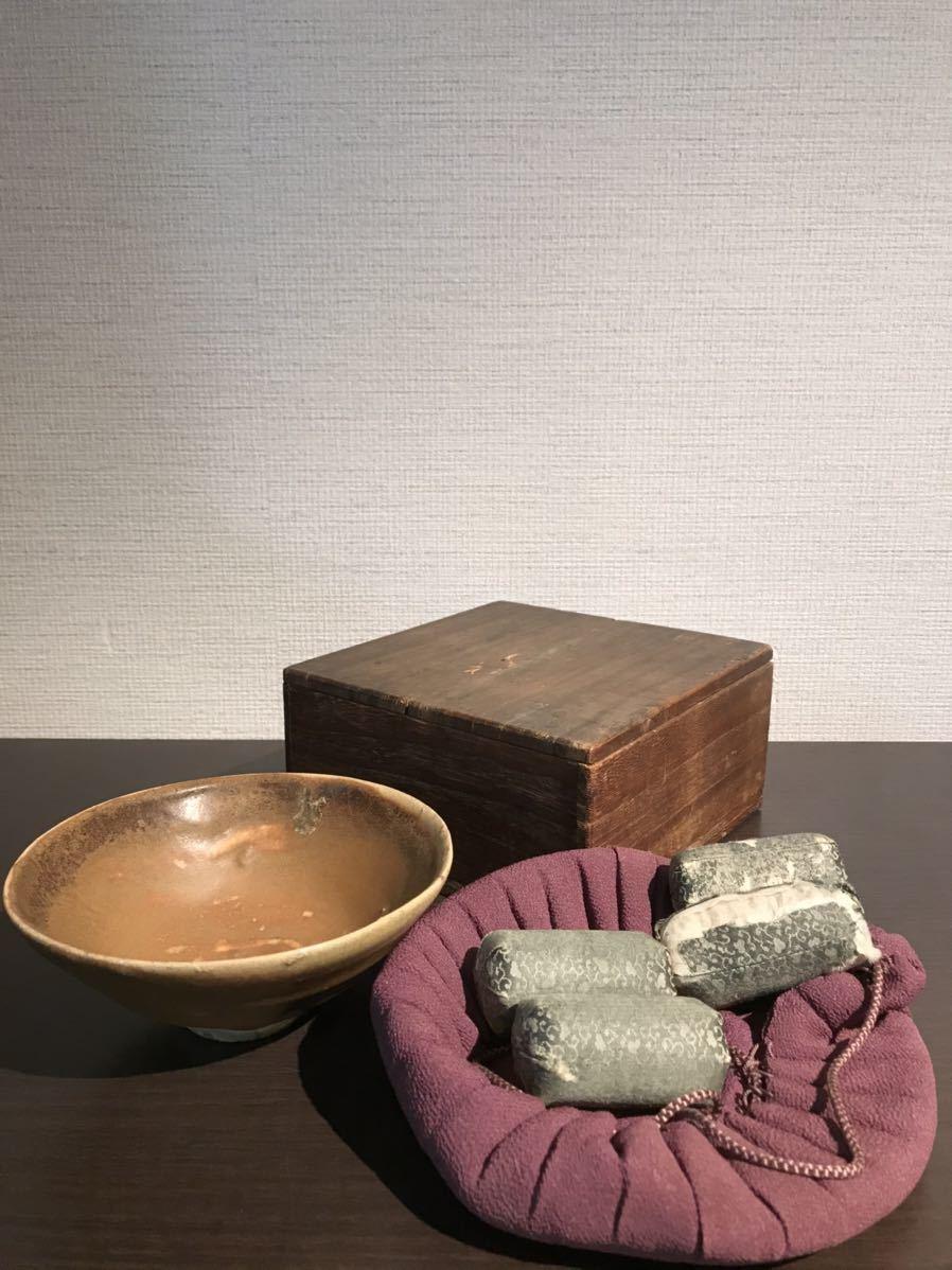 【GE】E76【蔵出品】時代 加彩褐釉茶碗 /美術品 骨董品