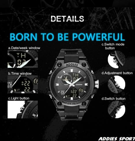 メンズ 腕時計 スポーツ 30M防水 エレクトロニクス クロック デジタル アウトドア アーミー ミリタリー カジュアル LED s0055_画像7