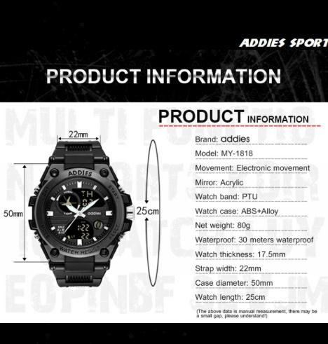 メンズ 腕時計 スポーツ 30M防水 エレクトロニクス クロック デジタル アウトドア アーミー ミリタリー カジュアル LED s0055_画像9