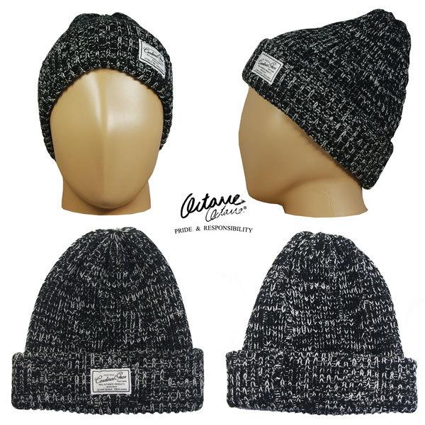 オクターブオクターブ OCTAVE OCTAVE ニットキャップ 綿アクリルミックスリブワッチ ビーニー キャップ 帽子 ユニセックス ブラック 492