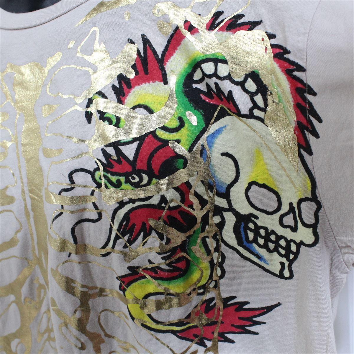 エドハーディー ED HARDY メンズ半袖Tシャツ Lサイズ カーキ 新品_画像2