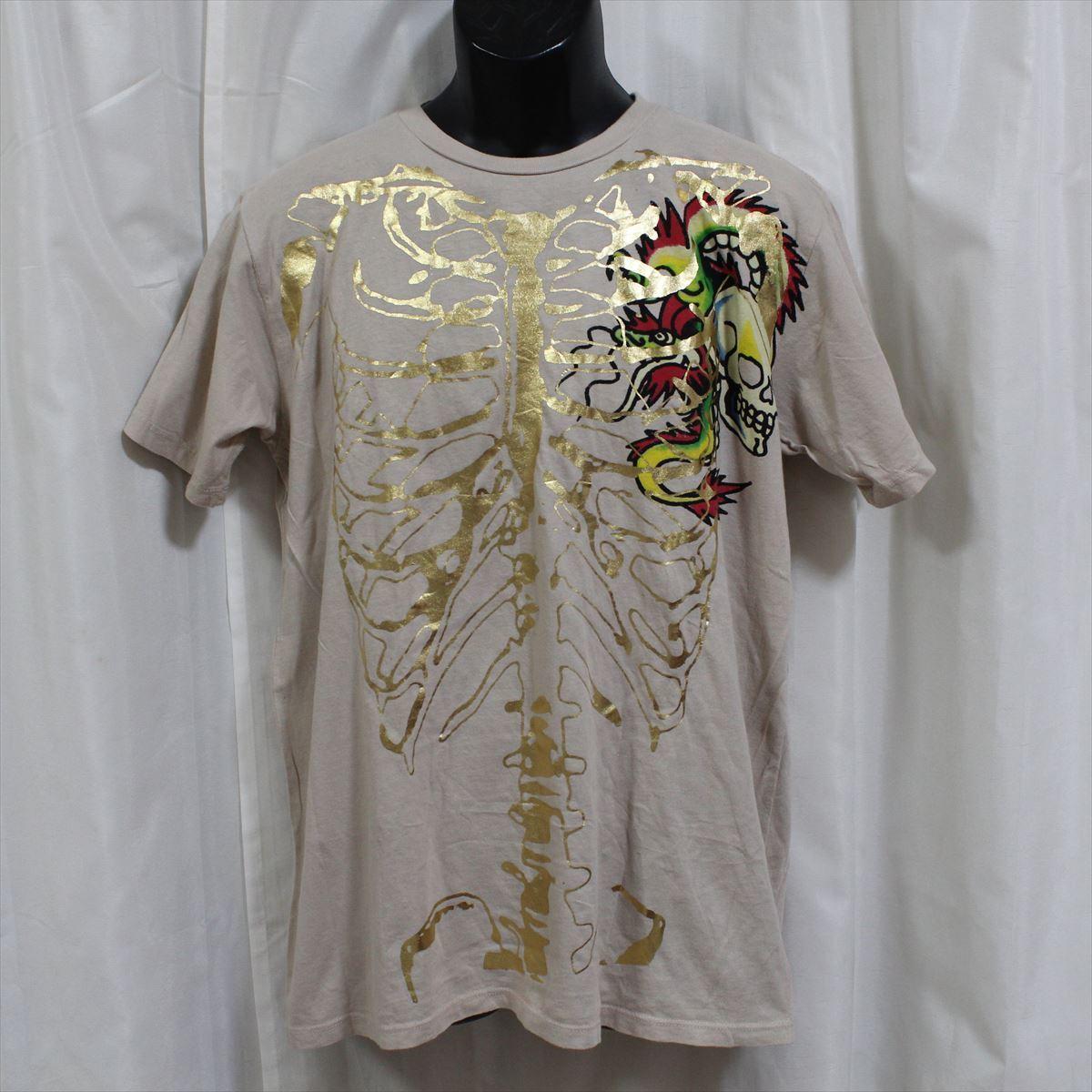 エドハーディー ED HARDY メンズ半袖Tシャツ Lサイズ カーキ 新品_画像1