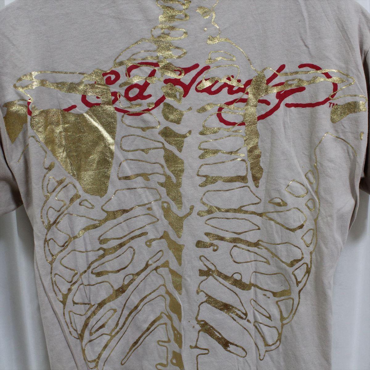 エドハーディー ED HARDY メンズ半袖Tシャツ Lサイズ カーキ 新品_画像5