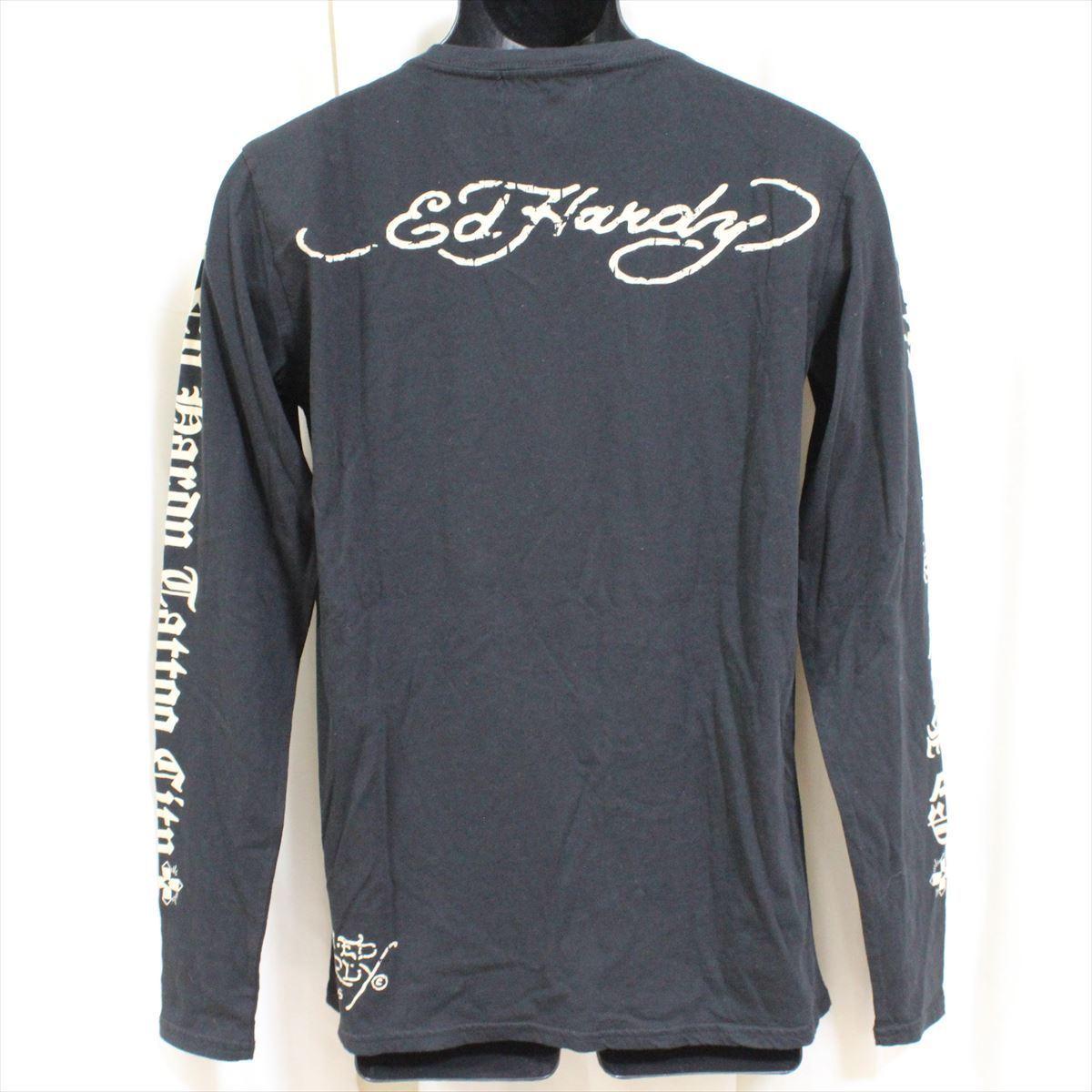エドハーディー ED HARDY メンズ長袖Tシャツ ブラック Mサイズ TC326 新品_画像4