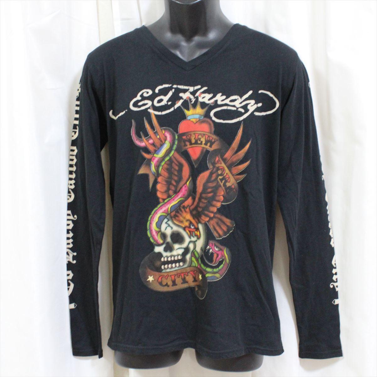 エドハーディー ED HARDY メンズ長袖Tシャツ ブラック Mサイズ TC326 新品_画像1