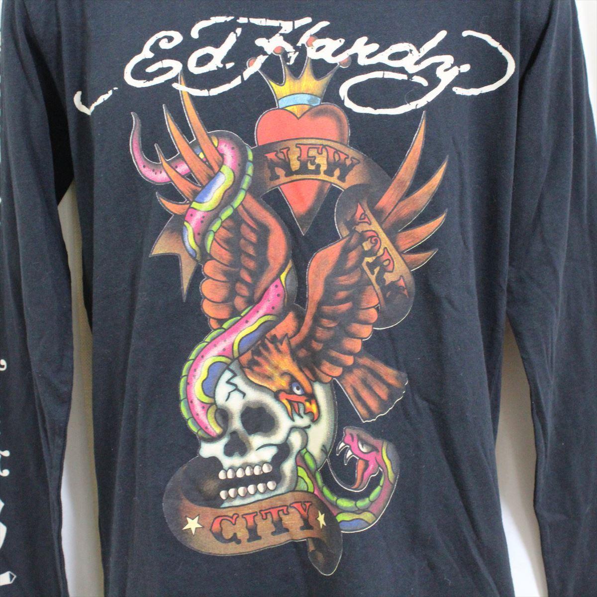 エドハーディー ED HARDY メンズ長袖Tシャツ ブラック Mサイズ TC326 新品_画像2