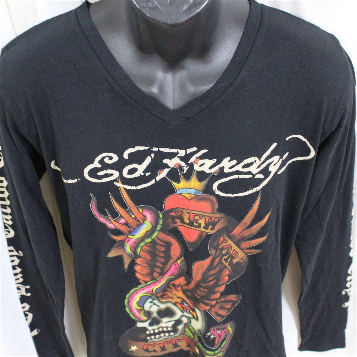 エドハーディー ED HARDY メンズ長袖Tシャツ ブラック Mサイズ TC326 新品_画像3