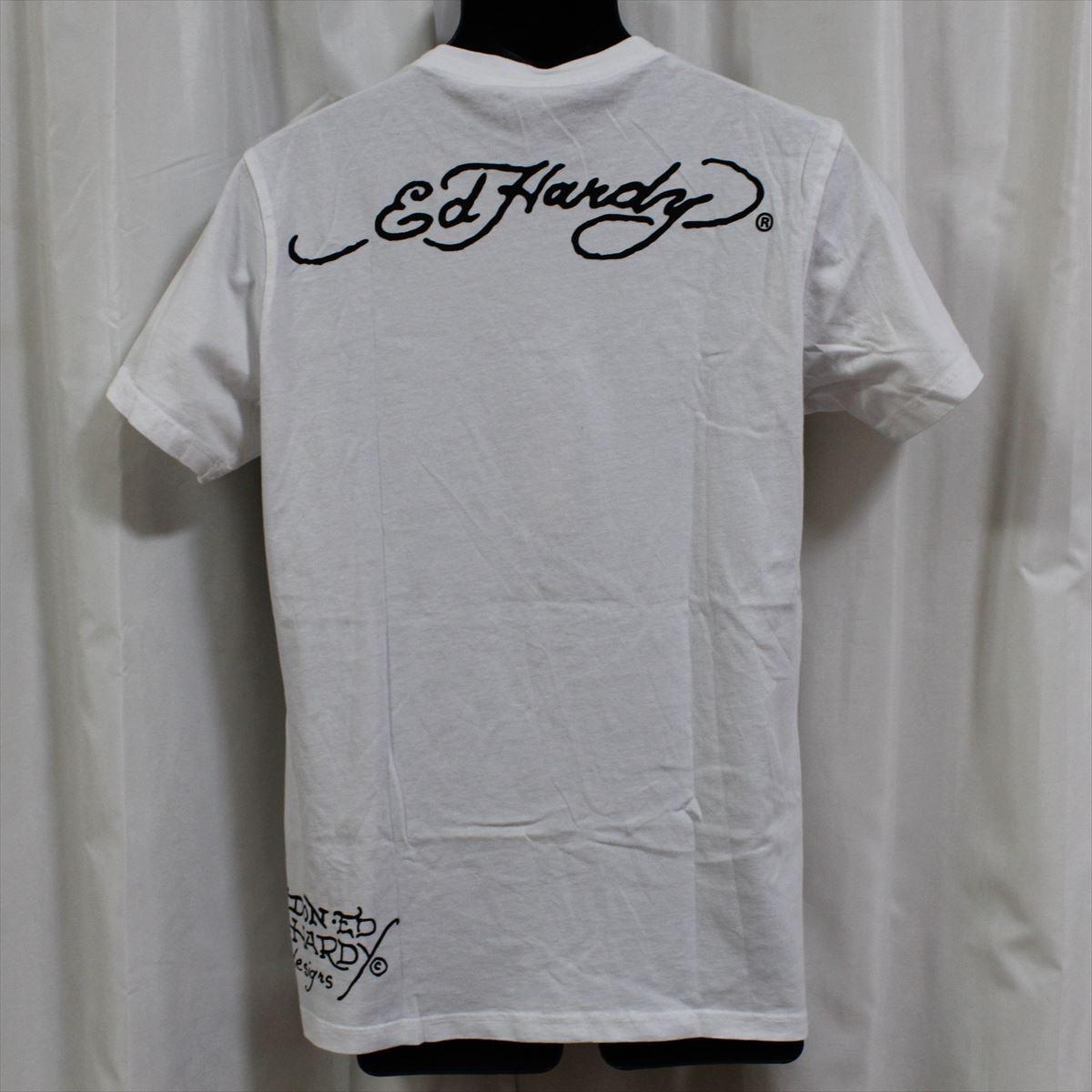 エドハーディー ED HARDY メンズ半袖Tシャツ Mサイズ ホワイト NO2 新品_画像3