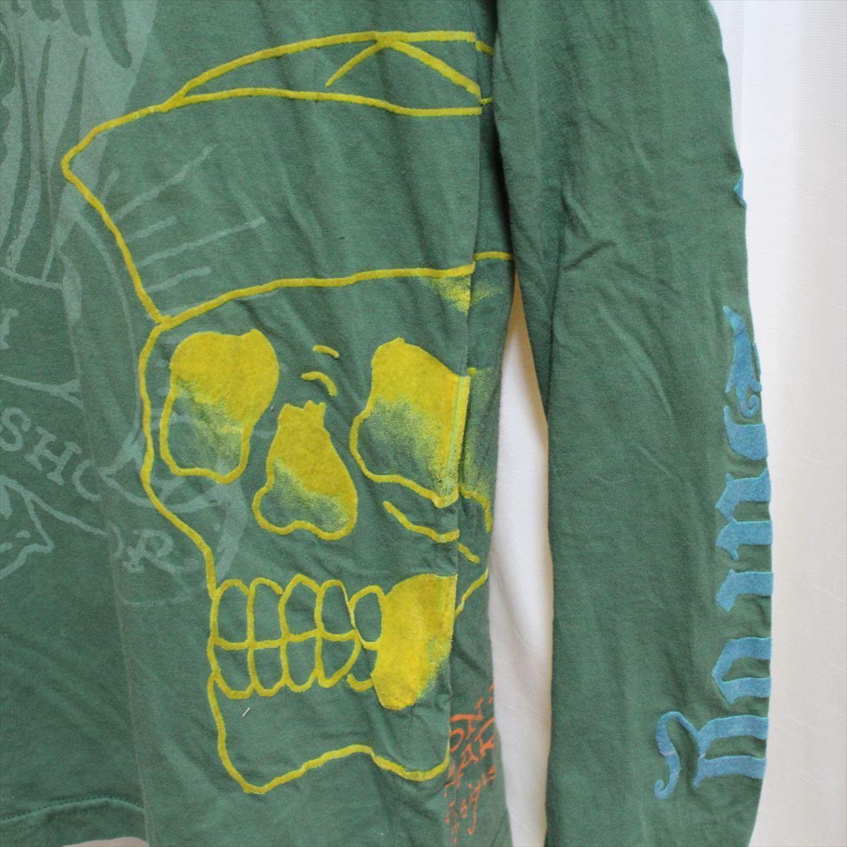 エドハーディー ED HARDY メンズ長袖Tシャツ グリーン Sサイズ NO5 新品_画像3