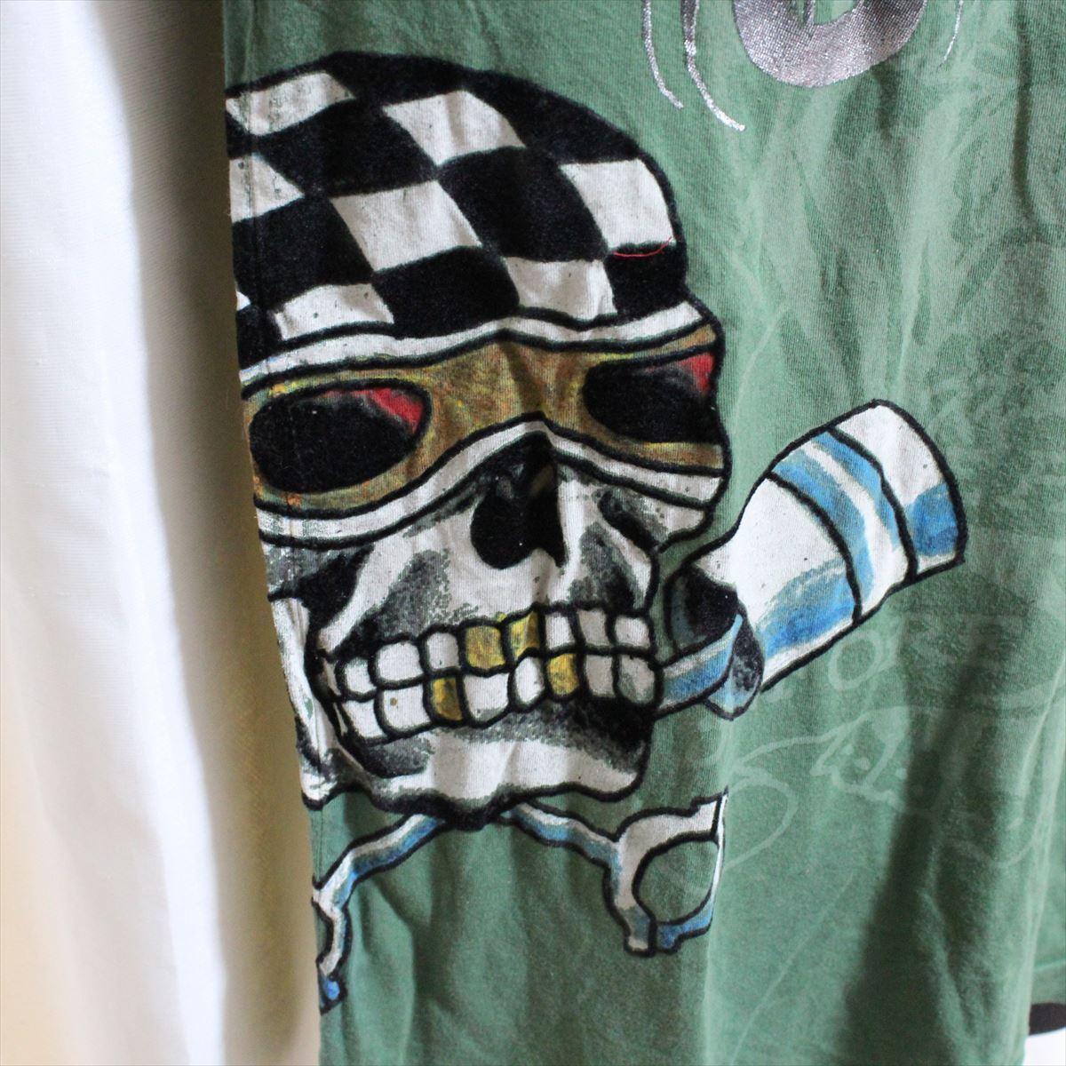 エドハーディー ED HARDY メンズ長袖Tシャツ グリーン Sサイズ NO5 新品_画像2