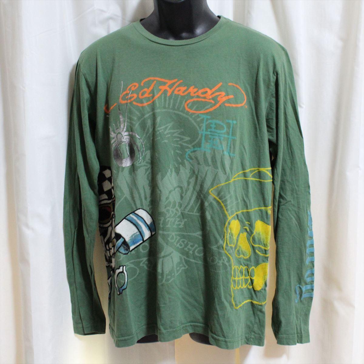 エドハーディー ED HARDY メンズ長袖Tシャツ グリーン Sサイズ NO5 新品_画像1