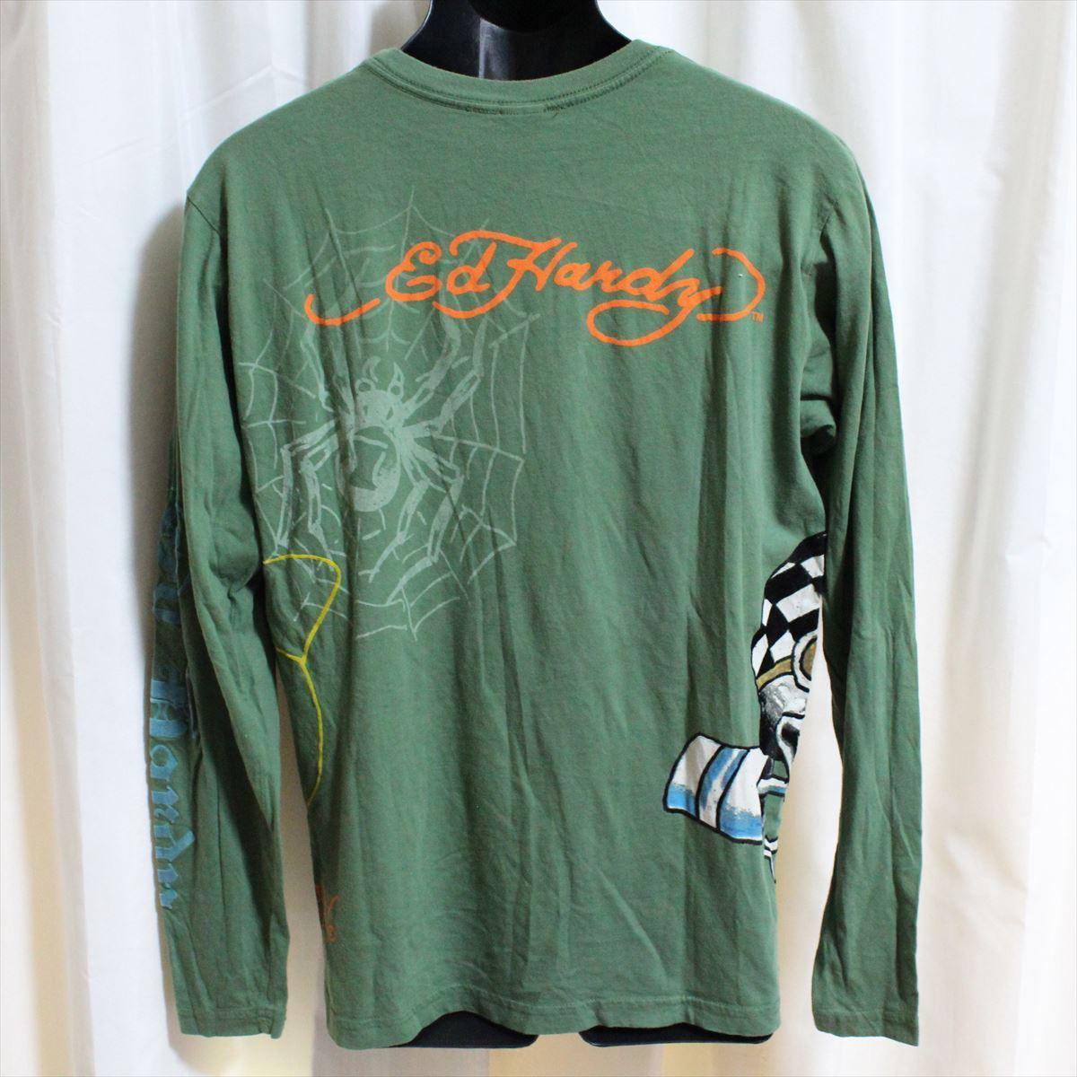 エドハーディー ED HARDY メンズ長袖Tシャツ グリーン Sサイズ NO5 新品_画像4