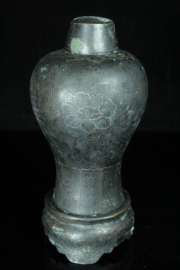 FEB031 高麗青銅器 銅製金銀象嵌梅瓶台/蓋付 高さ34.0cm 朝鮮美術