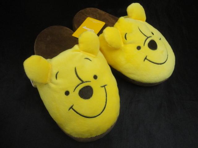 ◆くまのプーさん Disney◆ 耳付き スリッパ 新品タグ付き ルームシューズ 室内履き 前閉じ クニャックタイプ ◆
