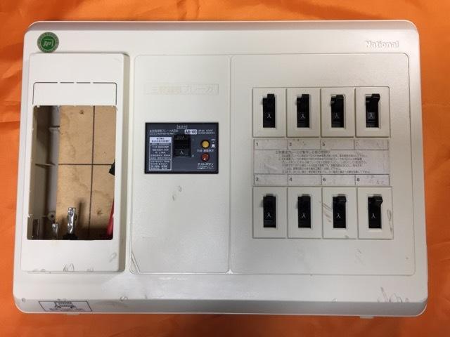 ★送料無料 ナショナル中古分電盤 メインなし、漏電ブレーカ松下電工50A、安全ブレーカ松下電工20A×6回路 ナショナル