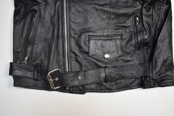 ☆未使用 USEDレザー リメイク レザージャケット 本革 ダブルライダース ブラック黒 【38(S)】     ◆2087◆_画像7