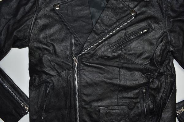 ☆未使用 USEDレザー リメイク レザージャケット 本革 ダブルライダース ブラック黒 【38(S)】     ◆2087◆_画像6