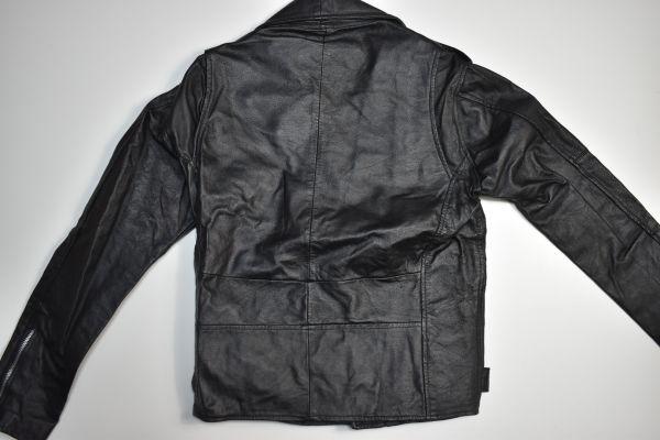 ☆未使用 USEDレザー リメイク レザージャケット 本革 ダブルライダース ブラック黒 【38(S)】     ◆2087◆_画像9