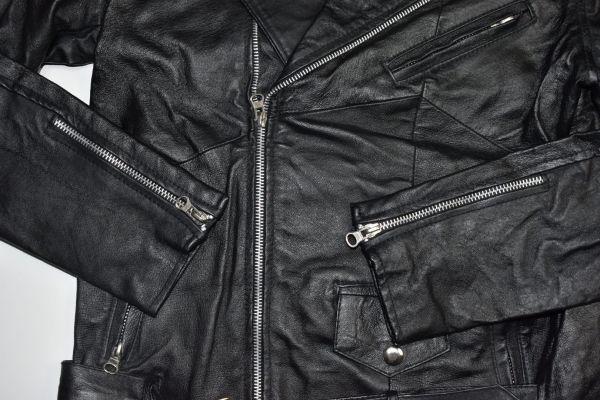 ☆未使用 USEDレザー リメイク レザージャケット 本革 ダブルライダース ブラック黒 【38(S)】     ◆2087◆_画像8