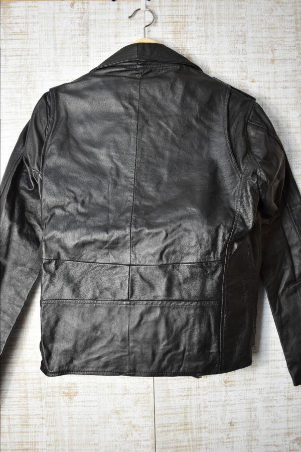 ☆未使用 USEDレザー リメイク レザージャケット 本革 ダブルライダース ブラック黒 【38(S)】     ◆2087◆_画像3