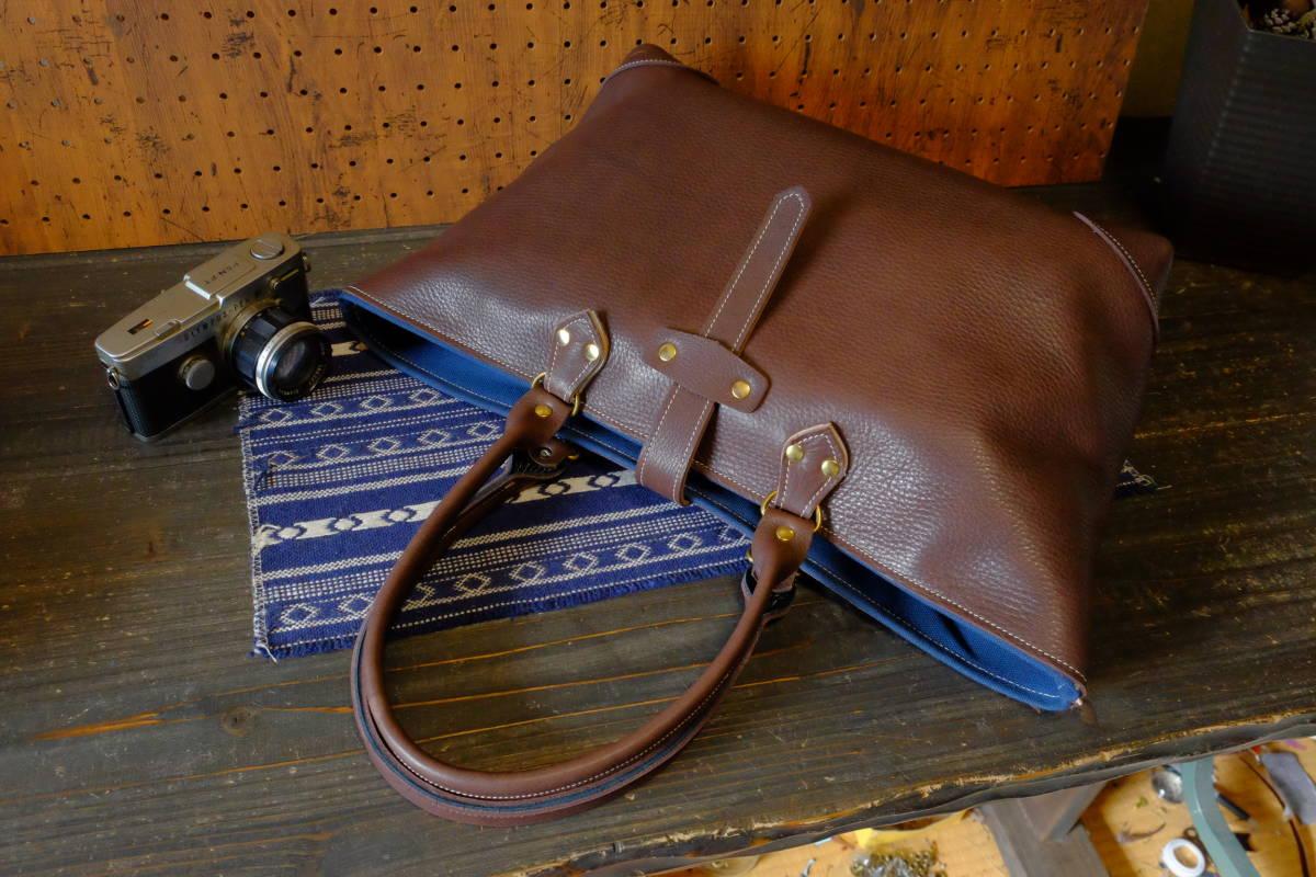 美しい天然なめし★ダークブラウン牛革イタリアンレザートートバッグ Lサイズ農茶ハンドメイド本革牛革鞄帆布