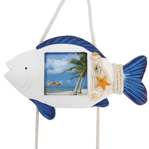 壁掛けフォトフレーム 3連 マリンモチーフ 写真立て 8×8cm 魚 貝殻/23к_画像3