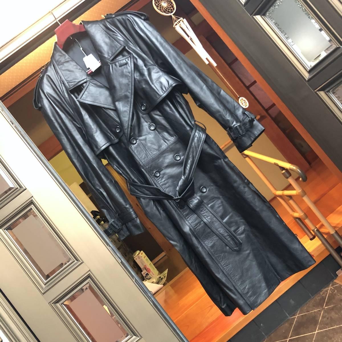 1円スタート 未使用 ロングコート 革 ブラック 近鉄百貨店で, 75,000円。 高級 牛