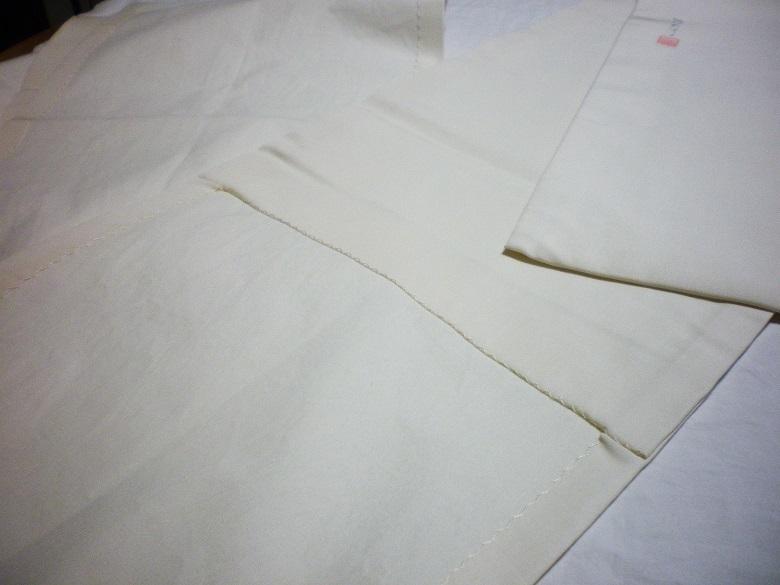 きん子 手描き 雀と牡丹 開き仕立 芯出し仕立て 9寸開き名古屋帯 オフホワイト リメイク材料 ハギレ 古布_画像5