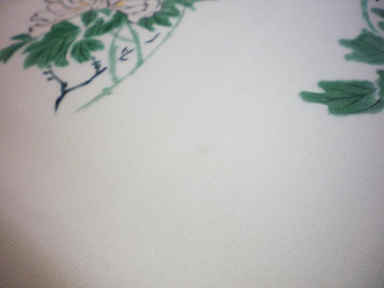 きん子 手描き 雀と牡丹 開き仕立 芯出し仕立て 9寸開き名古屋帯 オフホワイト リメイク材料 ハギレ 古布_画像7