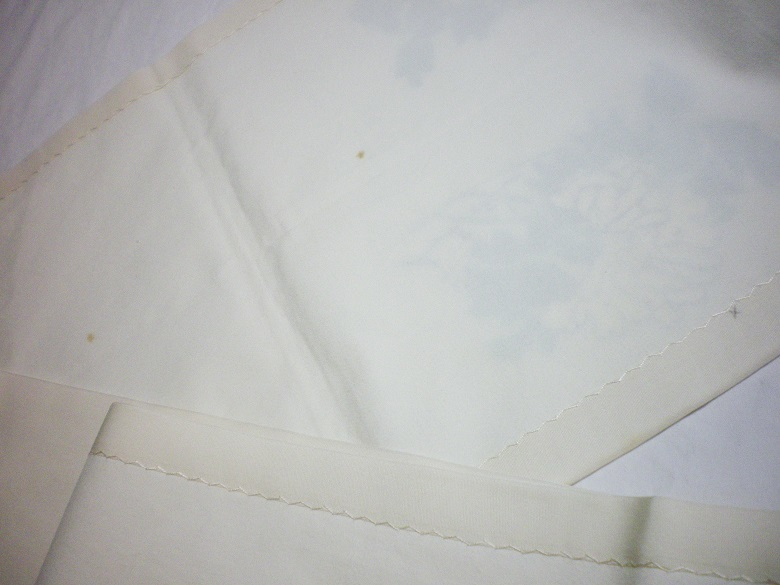 きん子 手描き 雀と牡丹 開き仕立 芯出し仕立て 9寸開き名古屋帯 オフホワイト リメイク材料 ハギレ 古布_画像8