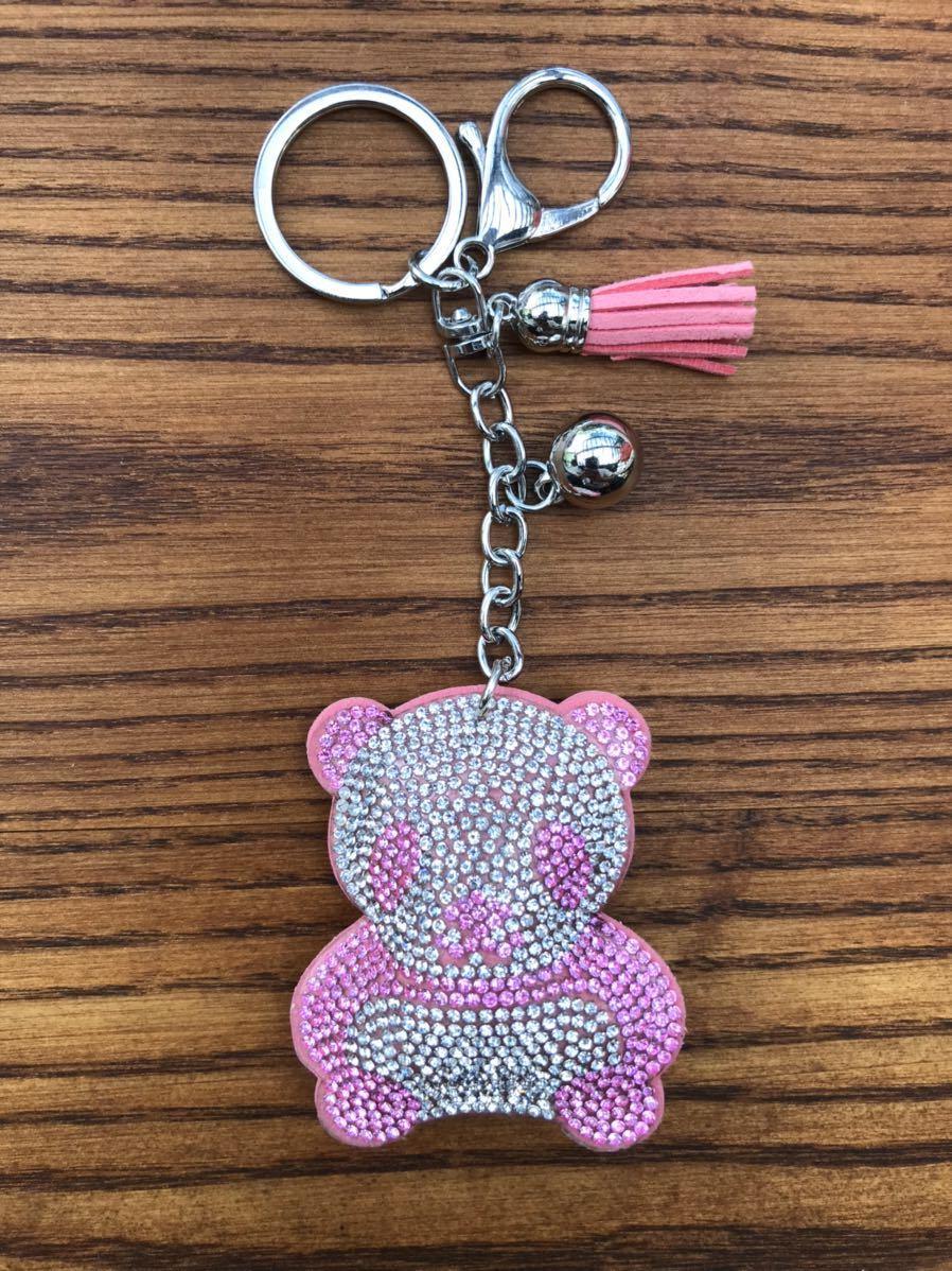 キラキラ キーホルダー バッグチャーム パンダ ラインストーン ピンク かわいい