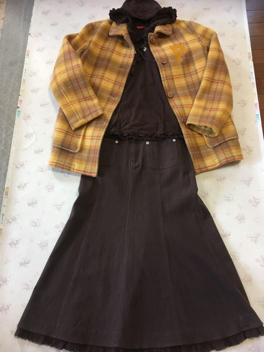 ピンクハウス 山吹色?黄・茶色系チェック柄のコート