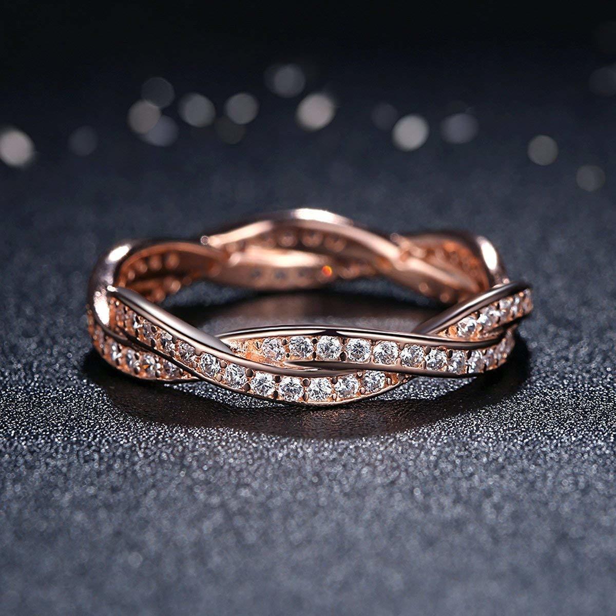 《未使用》Presentski シルバー925指輪 レディース リング 結婚指輪 ピンクゴールドメッキ婚約指輪 ジルコニア cz 18《アウトレット》_画像6