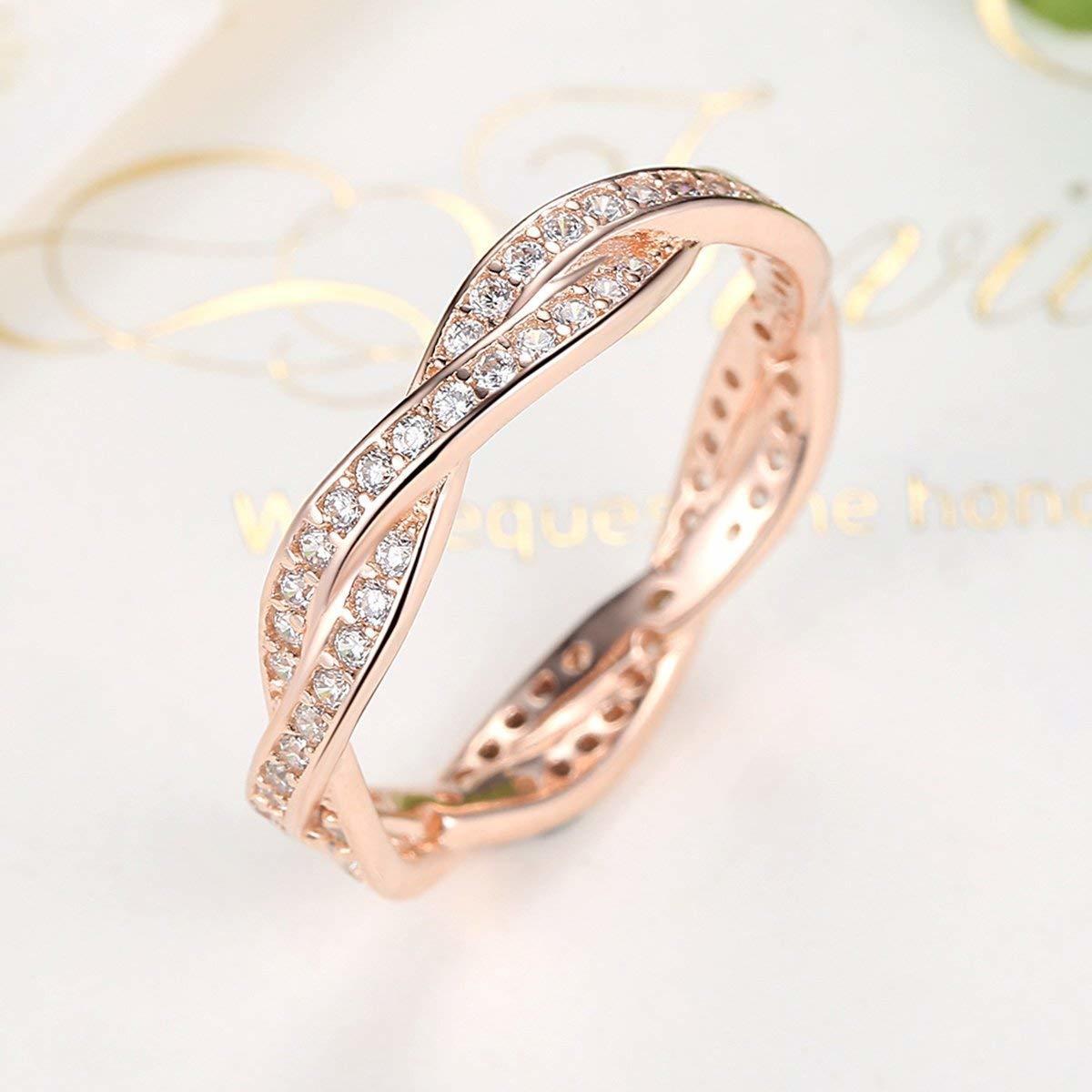《未使用》Presentski シルバー925指輪 レディース リング 結婚指輪 ピンクゴールドメッキ婚約指輪 ジルコニア cz 18《アウトレット》_画像3