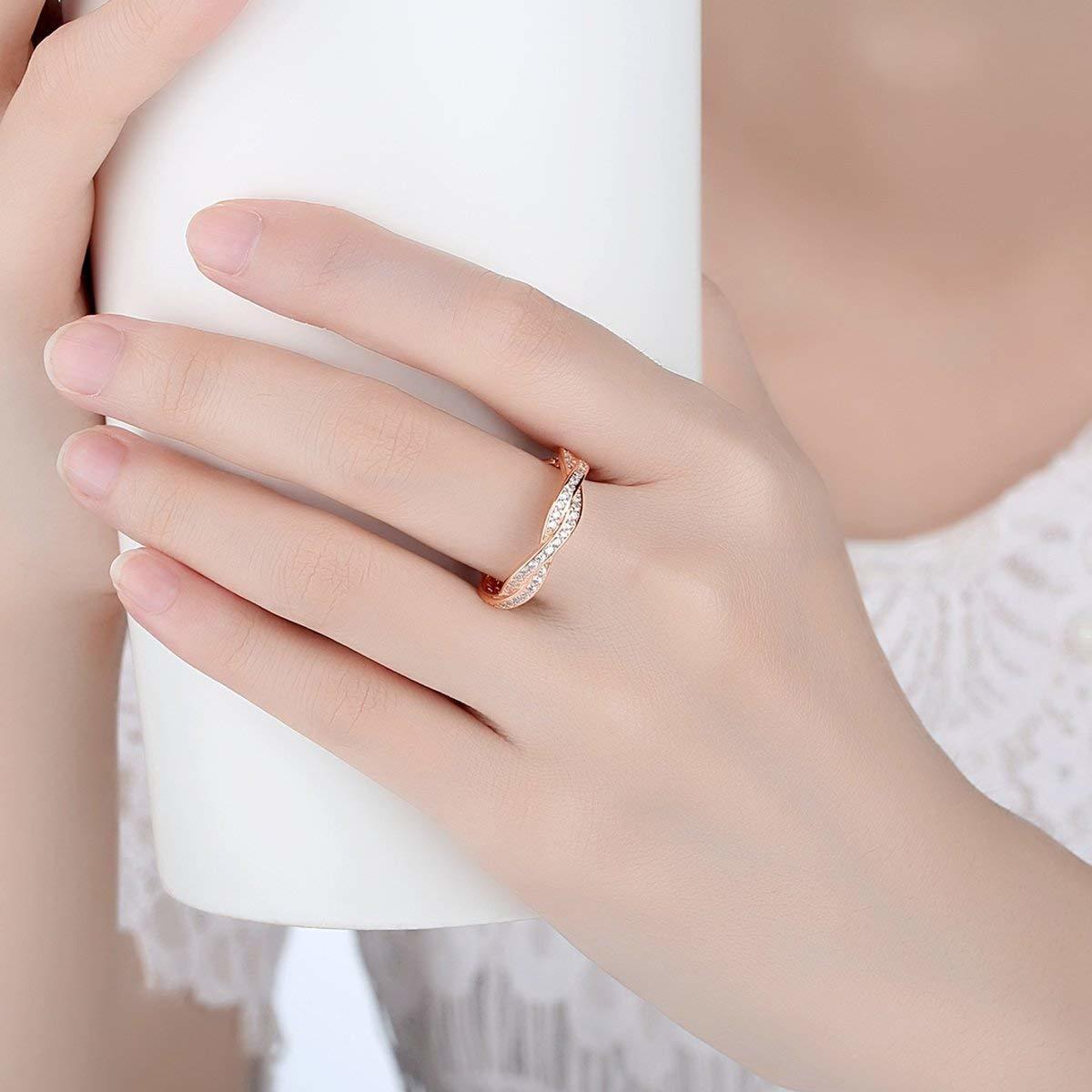 《未使用》Presentski シルバー925指輪 レディース リング 結婚指輪 ピンクゴールドメッキ婚約指輪 ジルコニア cz 18《アウトレット》_画像2