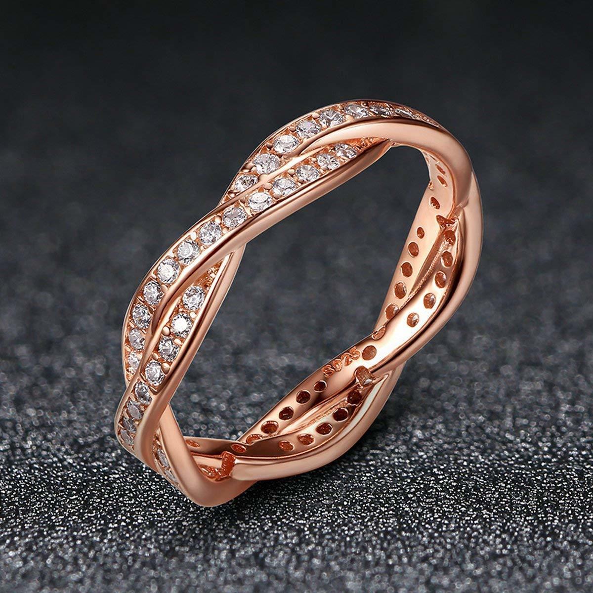 《未使用》Presentski シルバー925指輪 レディース リング 結婚指輪 ピンクゴールドメッキ婚約指輪 ジルコニア cz 18《アウトレット》_画像7