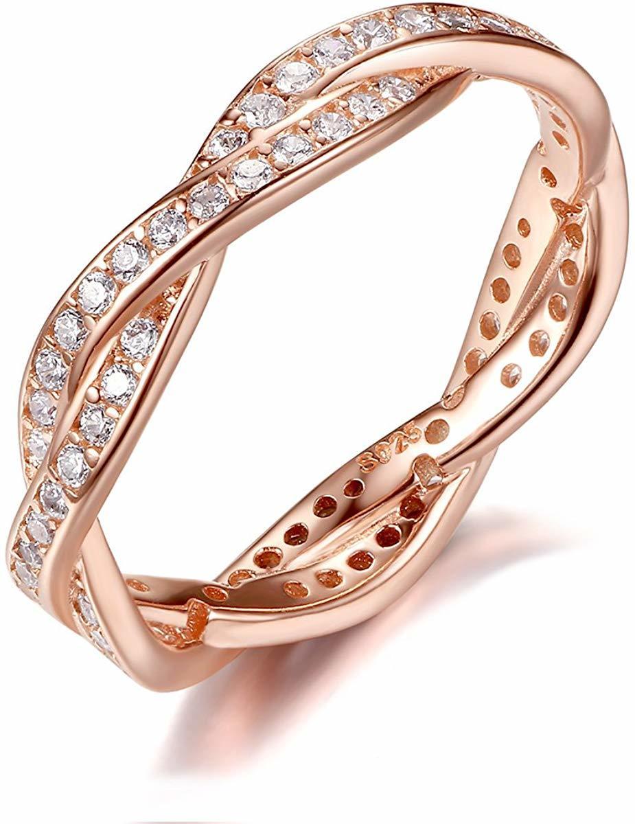 《未使用》Presentski シルバー925指輪 レディース リング 結婚指輪 ピンクゴールドメッキ婚約指輪 ジルコニア cz 18《アウトレット》_画像1