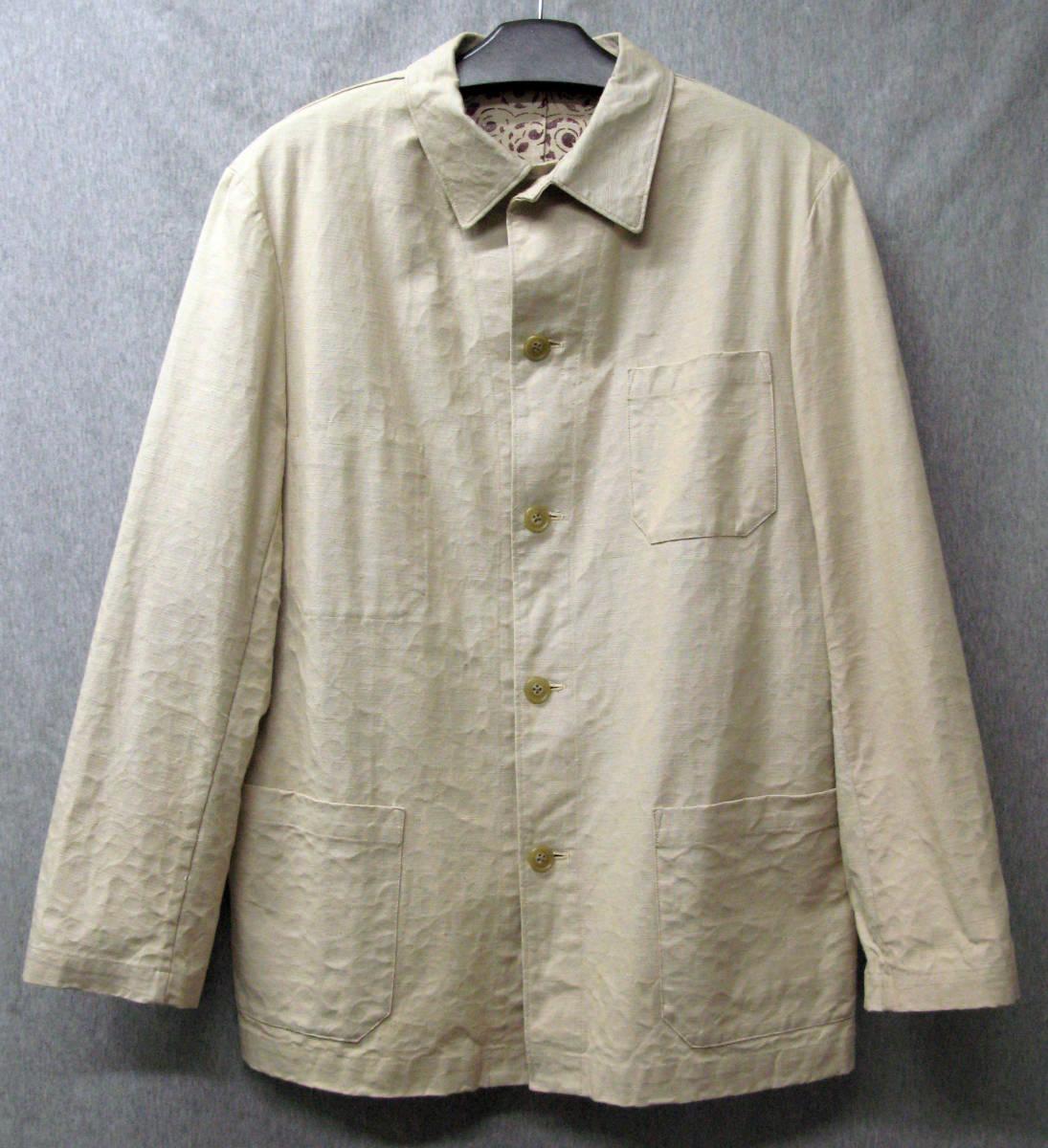 ワイズ フォーメン:裏プリント 綿麻混紡 ジャケット ( 麻ジャケット 春夏ジャケット Yohji Yamamoto linen jacket_画像1