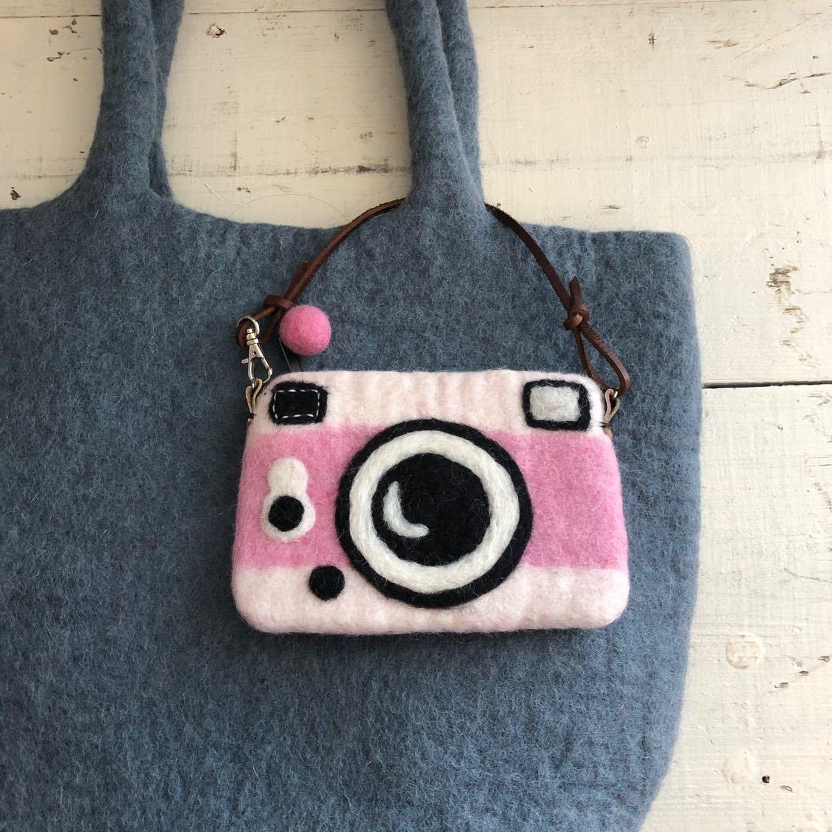 オリジナル 羊毛フエルトカメラポーチ ハンドメイド カメラ カードケース ポーチ