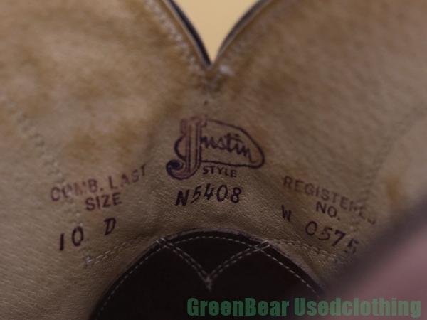 H744◆USA製【ジャスティン Justin】ビンテージ ウエスタンブーツ いい味 ワイズ細め 茶 ブラウン メンズ 10D 28㎝_画像6